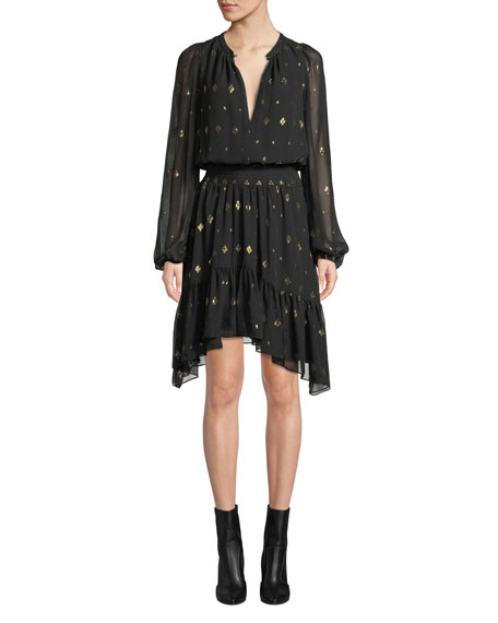 Sidney Long-Sleeve Metallic Flounce Dress