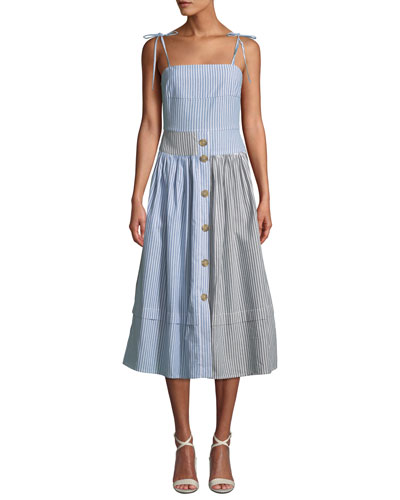 Issy Striped Button-Front Midi Dress