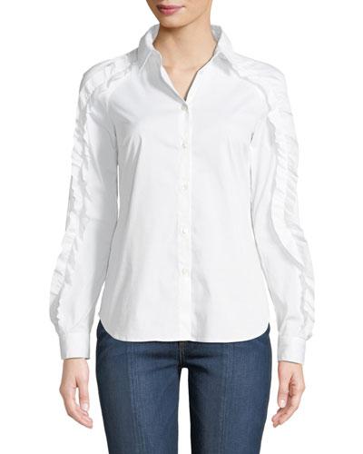 Ruffled-Trim Poplin Shirt