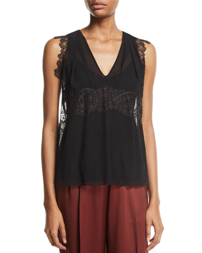 Silk V-Neck Lace Tank