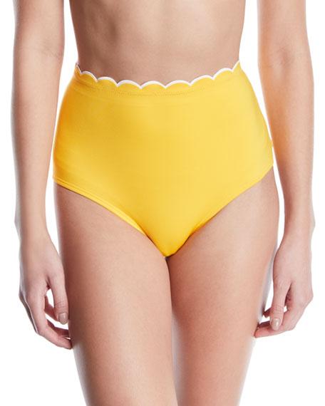kate spade new york high-waist scalloped bikini swim