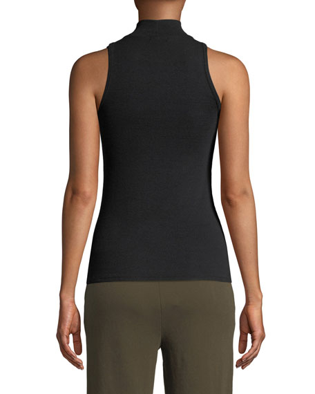 Sleeveless Fitted Mock-Neck Top