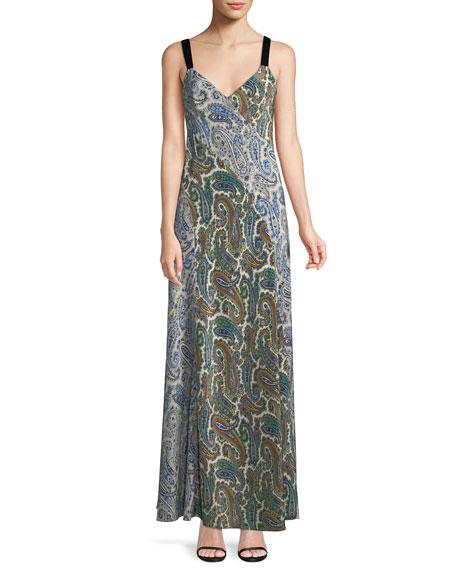Sleeveless Paneled Lily-Print Silk Maxi Dress