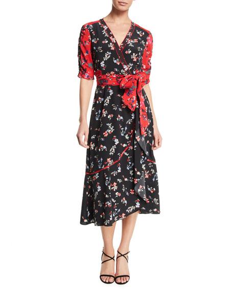 Blaire Floral-Print Silk Short-Sleeve Wrap Dress