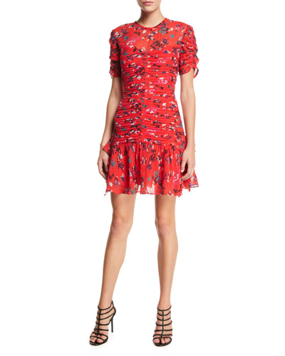 Carti Floral Ruched Short Flounce Dress
