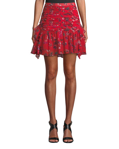 Abby Ruched Floral Flounce Mini Skirt
