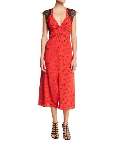 Kara Printed Button-Front Dress with Lace Trim