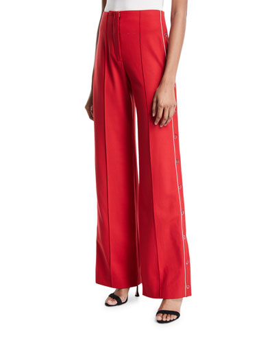 Snap-Up Wide-Leg Pleated Pants