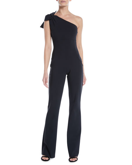 Image 1 of 1: Hannele 1-Shoulder Open-Back Jumpsuit