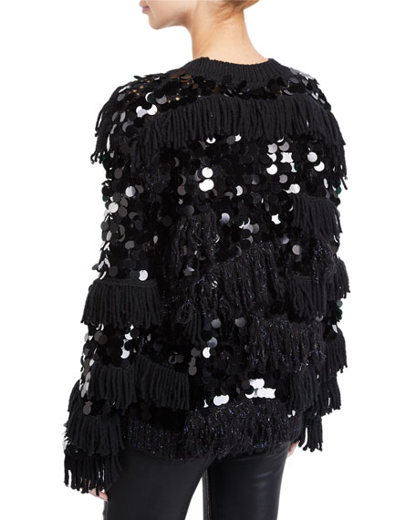 Alix Shaggy Sequined Wool Pullover Sweater