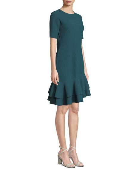 Adeline Ribbed Asymmetrical Flounce Tee Dress