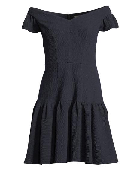 Textured Off-the-Shoulder Mini Dress