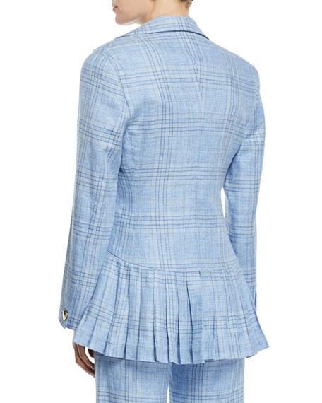 Suit Yourself Linen Check Peplum Blazer