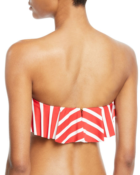 Ruffle Bandeau Striped Bikini Top