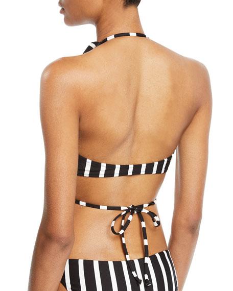 Ruffle Wrap Striped Bikini Swim Top