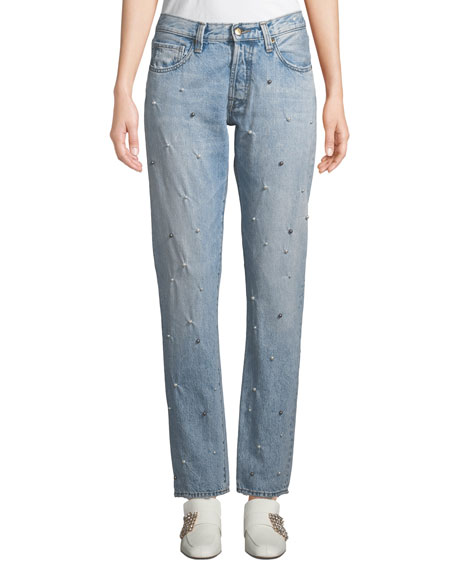 El Camino Tapered Boyfriend Jeans with Pearl Details