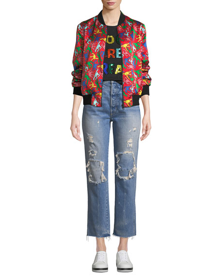 Loverboy Patched High-Rise Straight-Leg Jeans