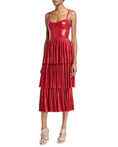 Pleated Lame Tiered Cocktail Dress w/ Metallic Trims