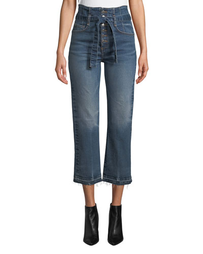 Marlene 12 Rise Corset Straight-Leg Cropped Jeans