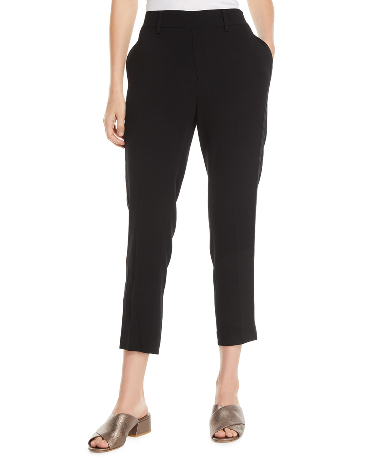 Crepe Satin Stripe Cropped Pull On Pants by Vince