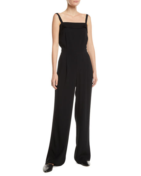 Image 1 of 1: Sleeveless Crepe Tuxedo Jumpsuit