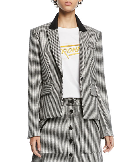 bed7842549ce50 Veronica Beard Airlie Houndstooth Peplum Dickey Jacket