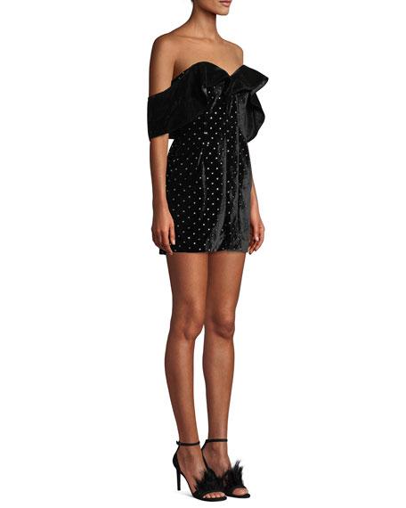 Off-Shoulder Velvet Embellished Mini Dress