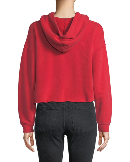 Cropped Raw-Edge Pullover Hoodie