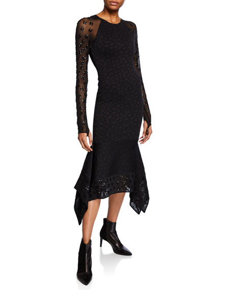 Image 1 of 1: Sequin Floral Jacquard Jersey Cocktail Dress