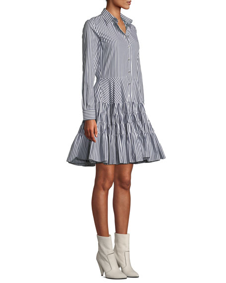 Striped Gathered Fit-and-Flare Shirtdress