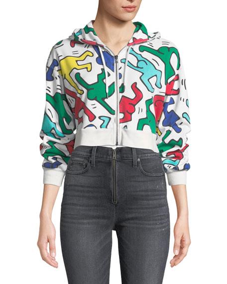 Keith Haring x Alice + Olivia Barron Cropped Wide-Sleeve Zip-Up Hoodie