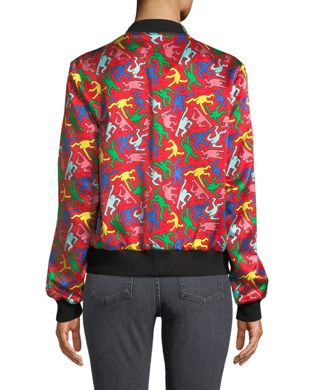 Keith Haring x Alice + Olivia Lonnie Reversible Bomber Jacket
