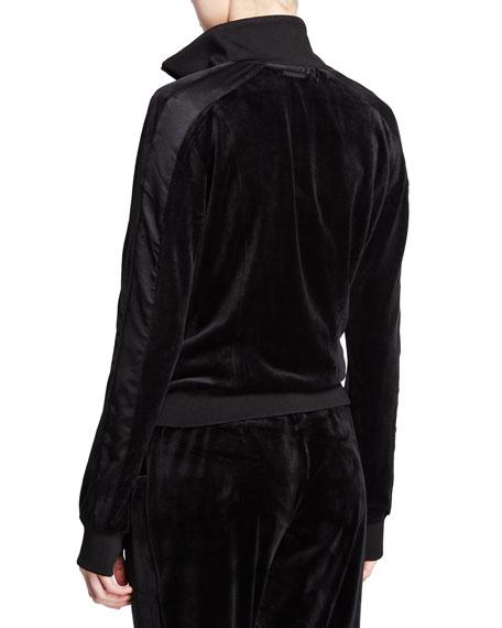 Posh Velour Zip-Front Track Jacket