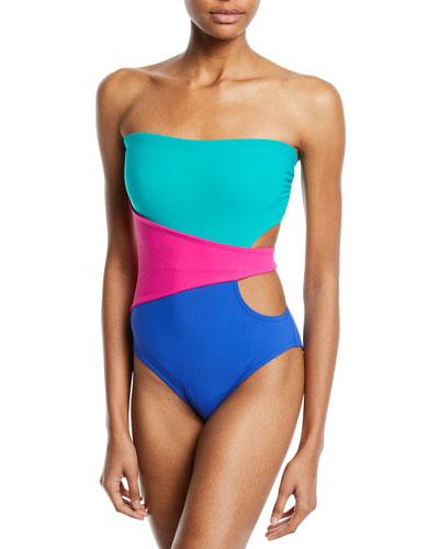 Marcella Bandeau Colorblock One-Piece Swimsuit