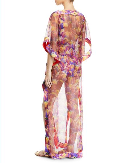 Naia Floral-Print Organza Long Coverup Kaftan