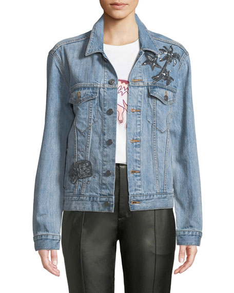 Embellished Denim Trucker Jacket