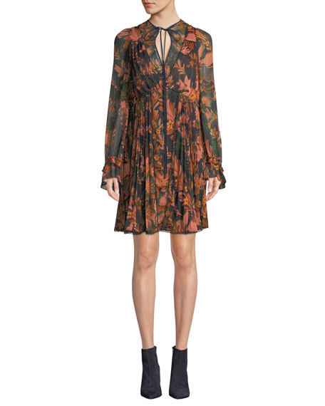 Forest Floral-Print Pleated Long-Sleeve Dress