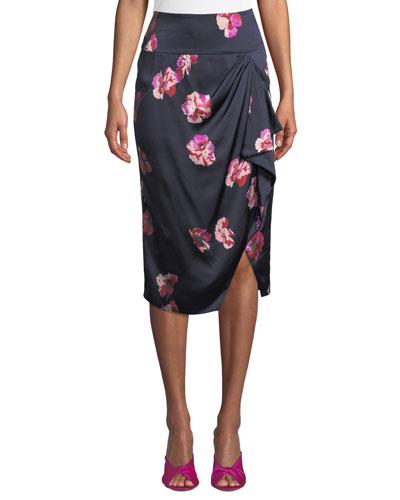 Alphina Front-Drape Floral-Print Knee-Length Skirt