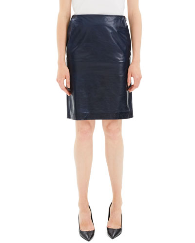 Clean Leather Knee-Length Pencil Skirt