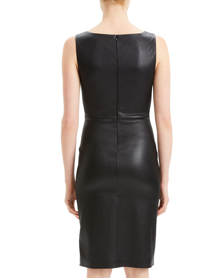 Fitted Scoop-Neck Leather Cocktail Dress