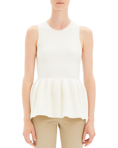 Shaped Wool Peplum Knit Shell Top