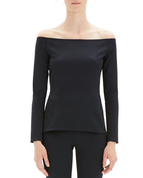 Off-Shoulder Long-Sleeve Fitted Top