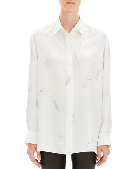Abstract Printed Silk Twill Button-Down Shirt