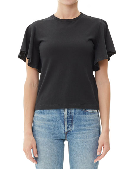 Image 1 of 1: Anise Flutter-Sleeve Cropped Cotton Tee