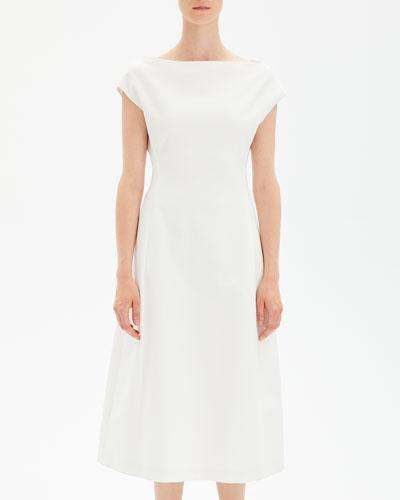 Boat-Neck Double-Stretch Tulip Midi Dress