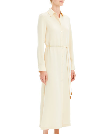 Belted Classic Crepe Long Shirtdress