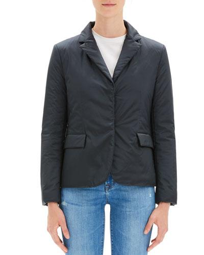 Button-Front Blazer Puffer Jacket