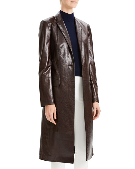 Varnished Leather Single-Button Long Coat
