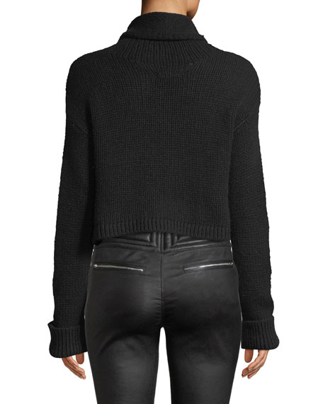 Shay Cropped Cashmere Turtleneck Sweater