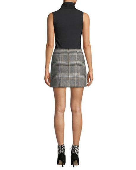 Raye Plaid Wool-Blend Mini Skirt